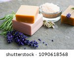 lavender flowers and soap... | Shutterstock . vector #1090618568