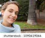 portrait of young woman smiling ... | Shutterstock . vector #1090619066