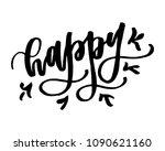 happy handwritten word with... | Shutterstock .eps vector #1090621160