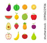 flat fruit icon set vector...   Shutterstock .eps vector #1090622936
