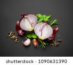 red onion and spices on black... | Shutterstock . vector #1090631390