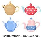 vector set of ceramic teapots... | Shutterstock .eps vector #1090636703