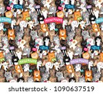 parade of cats with slogans.... | Shutterstock .eps vector #1090637519