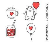 cute penguin  love coffee ... | Shutterstock . vector #1090640879