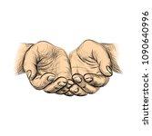 hands palms together  sketch... | Shutterstock . vector #1090640996