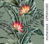 tropical vintage strelitzia... | Shutterstock .eps vector #1090641683