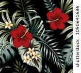 tropical vintage hibiscus... | Shutterstock .eps vector #1090641686