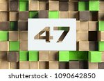 white paper cut number 47 on... | Shutterstock . vector #1090642850