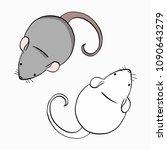 set of mouses on white... | Shutterstock .eps vector #1090643279