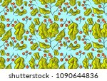 seamless pattern with green... | Shutterstock .eps vector #1090644836