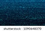 a stream of binary matrix code... | Shutterstock .eps vector #1090648370