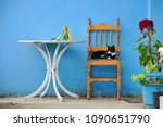 sleeping cat on the chair under ... | Shutterstock . vector #1090651790