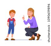 angry mother wags finger at... | Shutterstock .eps vector #1090659896