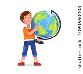 standing boy holds big desktop... | Shutterstock .eps vector #1090660403