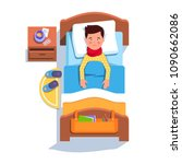sad suffering sick patient boy... | Shutterstock .eps vector #1090662086