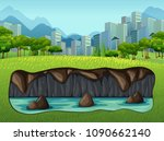 underground water near big city ... | Shutterstock .eps vector #1090662140