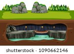 underground cave and bridge... | Shutterstock .eps vector #1090662146