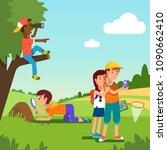 school student kids doing... | Shutterstock .eps vector #1090662410