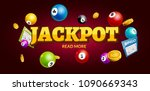 lottery jackpot background with ... | Shutterstock .eps vector #1090669343