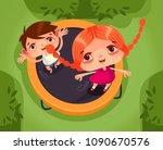 two happy smiling children... | Shutterstock .eps vector #1090670576