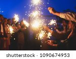 a crowd of young happy people...   Shutterstock . vector #1090674953