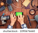 hands using mobile phone with... | Shutterstock . vector #1090676660