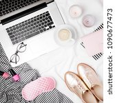 fashion blogger workspace with... | Shutterstock . vector #1090677473
