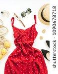 summer female fashion... | Shutterstock . vector #1090678718