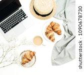 freelancer home office desk... | Shutterstock . vector #1090678730