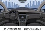 inside car driver view with... | Shutterstock .eps vector #1090681826