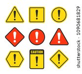 exclamation mark beware icons.... | Shutterstock .eps vector #1090681829