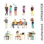 passive cigarette smoking ... | Shutterstock .eps vector #1090681928