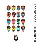 top view people sitting in... | Shutterstock .eps vector #1090681934