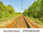 railway track in the forest at... | Shutterstock . vector #1090683638