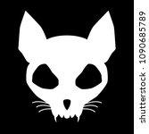 funny evil cat skull silhouette ... | Shutterstock .eps vector #1090685789