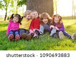 a group of small children in... | Shutterstock . vector #1090693883