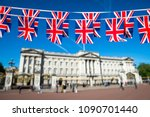 union jack flag bunting... | Shutterstock . vector #1090701440