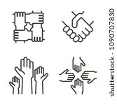 set of hand icons representing... | Shutterstock .eps vector #1090707830