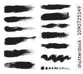 set of black brushes.... | Shutterstock .eps vector #1090725149