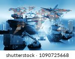 global business of container... | Shutterstock . vector #1090725668