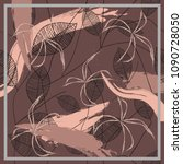 flower silk scarf with leaves...   Shutterstock .eps vector #1090728050