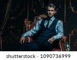 imposing well dressed man in a... | Shutterstock . vector #1090736999