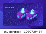 isometric cloud mining landing... | Shutterstock .eps vector #1090739489