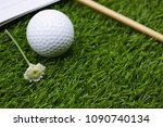 diary of golfer is on green... | Shutterstock . vector #1090740134