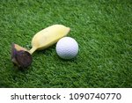 lunch for golfer is banana are... | Shutterstock . vector #1090740770