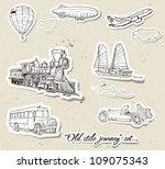 Set Of Vintage Vehicles. Vecto...