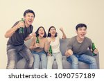 young asian people watching... | Shutterstock . vector #1090757189