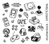 game doodles. hand drawing of... | Shutterstock .eps vector #1090757846
