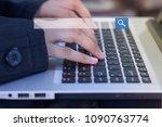 working woman using keyboard on ... | Shutterstock . vector #1090763774