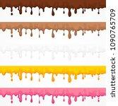 cream glaze blots and splash ... | Shutterstock .eps vector #1090765709